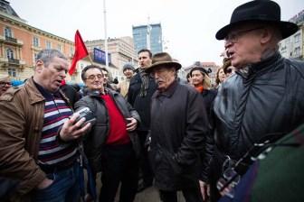 Zagreb, 28.02.2015 - Inicijativa Ujedinjeni protiv fasizma organizirala prosvjed na Trgu bana Jelacica
